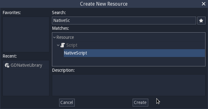 This new resource shall be of type NativeScript